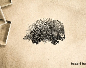 Antique Porcupine Rubber Stamp - 2 x 2 inches
