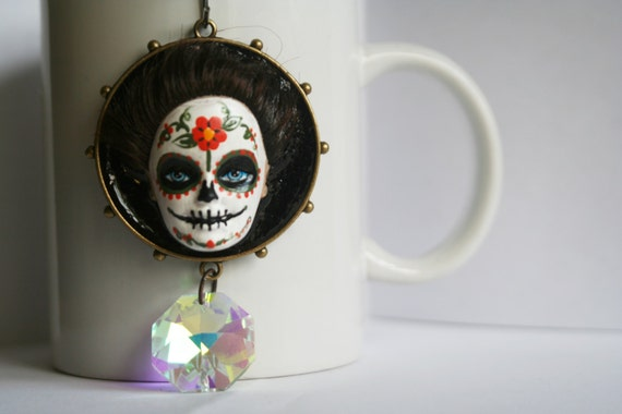 Day of the Dead Up-Cycled Sugar Skull Barbie Sun Catcher