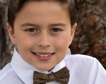 Ring Bearer Brown Tweed Herringbone Look BOW TIE Infant Toddler Child Youth Men