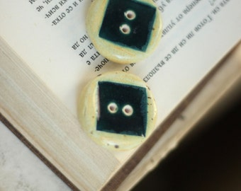 Ceramic Butons - Set Of  Two Ceramic Rounded Cream And Blue  Buttons  - Art Ceramic Buttons - Handmade Buttons - OOAK Buttons