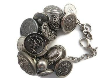 Silver Button Bracelet, Vintage Button Bracelet, Upcycled Charm Bracelet, Chunky Button Bracelet, Silver Charm Bracelet, Button Jewelry