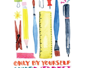 Measure Print -- Art Supplies, School Supplies -- Watercolor Print with hand lettering