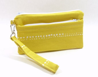 Yellow Phone Wallet, Wristlet Wallet, Cell Phone Wristlet, iPhone Wristlet, iPhone Wallet, Cell Phone Wallet, Zipper Wallet, Clutch Wallet