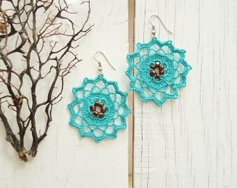 Handcrochet turquoise unique earrings, oya earrings, blue crochet earring, crochet earrings, black crochet earring, Crochet Jewelry