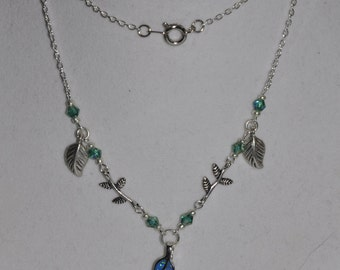 Necklace Sterling Silver Leaf Opal Teal Blue Crystal Chain #348