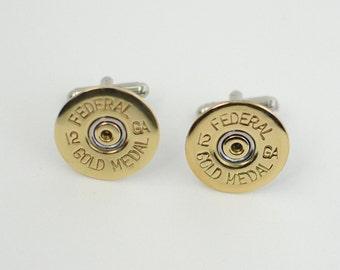 Brass Shotgun Shell Cufflinks 12-Gauge
