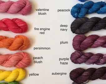 20g Mini Skeins - Tonal Yarn (Everyday and Sparkle Sock Bases)