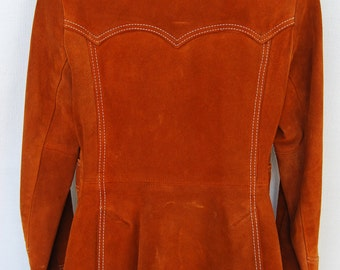 Vtg 70s Womens Suede Western Jacket Rust Brown Leather Ms Pioneer Blazer Coat USA