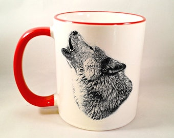 Howling Wolf Coffee Mug, Wolf Coffee Cup, Wolf Mug, Howl At The Moon, Free Spirit, Sublimated 11 oz, Two Tone Colored Handle & Rim, 4 Colors