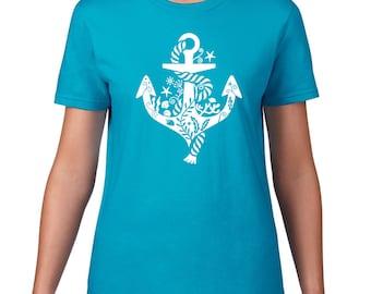 Whimsical Anchor TShirt, Boating Tee, Nautical Tshirt, Sailing T Shirt, Anchor T Shirt, Boating TShirt, Sailing Tshirt, Ringspun Cotton