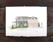 Custom House Portrait - Watercolor Illustrated House Portrait - New Home Housewarming