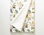 Baby Blanket. Sprigs and Blooms Everyday Blanket. Minky Blanket. Lovey.  Floral Baby Blanket. Pink Baby Blanket.
