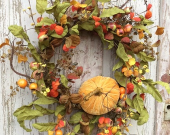 Fall Wreath, Autumn Wreath, Pumpkin Wreath, Thanksgiving Wreath, Rustic Fall Wreath,Fall door wreath,Fall wreath for door,Natual fall wreath