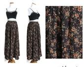 Autumn Skirt 90s Maxi Floral Long Skirt Fall 1990s Grunge Boho Elastic Waist Size Large