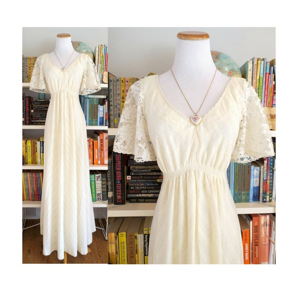 Boho wedding dress 70s wedding dress hippie wedding angel wing for Angel wings wedding dress