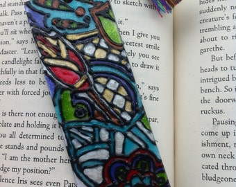 Stained Glass Effect Retro pattern Bookmark