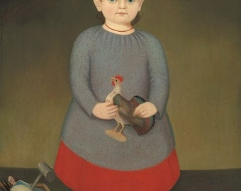 "Folk Art : ""Girl with Toy Rooster"" (c. 1840) - Giclee Fine Art Print"