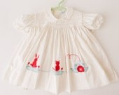 Vintage Baby Easter Dress white with bunny and boat