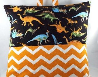 Reading Pillow // Pocket Pillow // Pillow Case // Camping Pillow // Pillow Tote -Dinosaurs and Orange Chevron