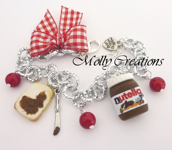 Bracelet with slice of bread and a jar of Nutella in Fimo