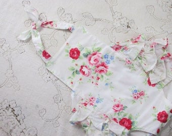 Flower Sugar Ruffled Bubble Romper - Infant Toddler Child - Red & Blue Roses - Cottage Chic Vintage-Style Sunsuit - Photo Prop - Baby Gift