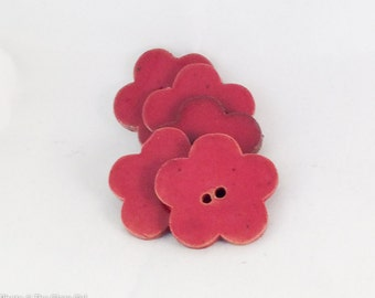 Ceramic Red Flower Shaped Buttons - Set of 2 pcs