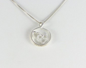 Sterling Silver Heart Mother and Daughter Friend Necklace chain 18 inch