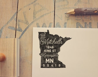 Minnesota Return Address State Stamp - Personalized Rubber Stamp