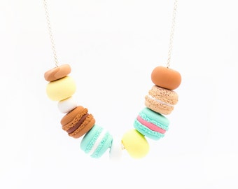 Handmade Polymer Clay Jewelry Necklace: Macaron Madness in Chocolate
