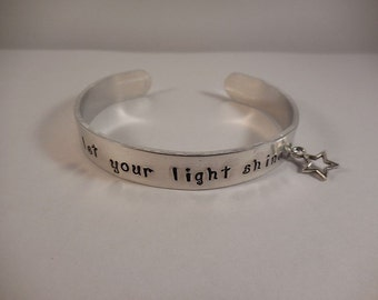 Let Your Light Shine Aluminum Cuff Bracelet with Star Charm