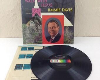 Jimmie Davis Let Me Walk With Jesus Vintage Vinyl Record Album lp 1969 Decca DL 75085