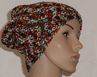 Crochet hat made of pure wool in white, black, Orange, light and dark brown