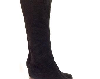 1970s Black Suede Knee High Zip-Up Boots Sz. 7