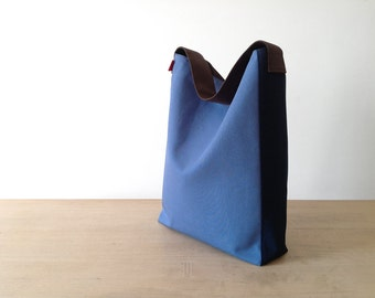 Indigo hobo bag, blue hobo bag, pure cotton hobo bag, fabric hobo bag, made in Italy bag, indigo handbag, blue handbag, indigo tote bag.