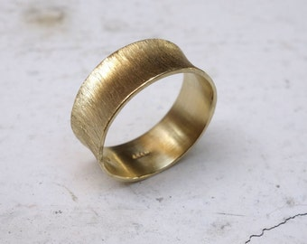 Women's Gold Wedding Band Scratched Finishing Unique Unusual Different Wedding ring Gold ring Feminine Unusual Handmade Ring Ladies Graceful