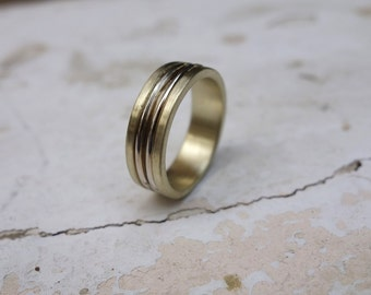 Men's Wedding Ring Gold Band Handmade Wedding Ring Promise Ring Unique Wedding ring Fine Jewelry His and hers wedding rings Unusual solid