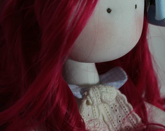 handmade fabric doll, fabric doll, doll, long hair doll
