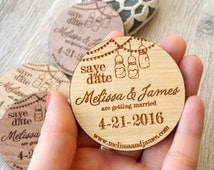 Wooden Save-the-Date magnets, mason jar design, wood save the date magnets, wooden magnets, engraved magnets, rustic save the dates