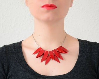 Red bib necklace, leather necklace, Geometric necklace, Feather necklace, Red necklace, Costume necklace, neon necklace, modern jewelry