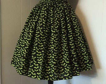 Vintage Style Circle Skirt with Elastic Waist and Lime Green Bat Print