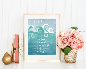 Nursery Quote Art Print, Ocean Waves Typography, Count All the Waves in the Sea