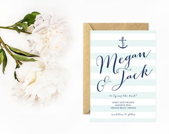 Anchor Save The Date, Modern Nautical Save The Date Cards in Navy Blue, Striped Save The Date