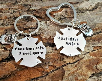 Fire Fighter Key Chains - Firefighter Wife - His and Hers - Gift For Him - Personalized - Hand Stamped - Anniversary - Graduation - Wedding