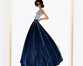 "Fashion Illustration Print, Ball Skirt, 8x10"""