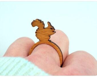 squirrel wooden ring, animal ring, laser cut ring, wood ring, animal ring
