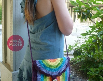Wool crochet purse, rainbow purse, girls accessory, shoulder bag, girls purse