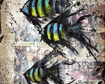 Fish Painting, Mixed Media Angelfish, Folkart, Angel Fish, Abstract Painting, Acrylic Painting, Mixed Media Newspaper Painting