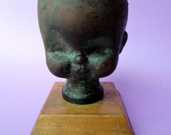 Vintage Copper Baby Doll Head Mold.