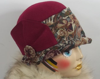 Wool, felt, cloche hat, 1920s, burgundy, flapper, Art Deco, designer, vintage style, church, hat, size Sm, Med,  L. Free shipping in US.
