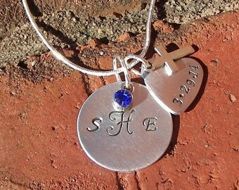 custom monogram necklace ,heart charm, hand stamped jewelry, personalized charm, dedication charm, engraved jewelry, handstamped jewelry